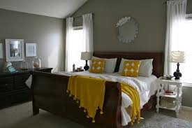Yellow And Gray Wall Decor by Yellow And Grey Bedroom Wall Decor Wooden Chest Of Drawer On The