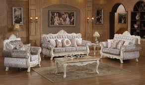Traditional Livingroom 638 Venice Traditional Living Room Set In Rich Pearl White By