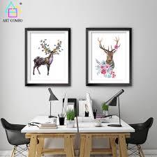 deer head home decor nordic decoration elephant deer head flower paintings on canvas