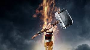 thor 2 the dark world wallpaper with thir holding hammer up