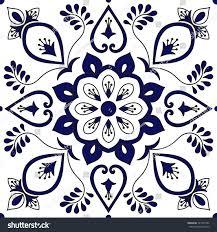 tile ornaments pattern vector blue white stock vector 721351543