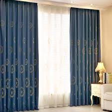 Extra Wide Thermal Curtains Blue Floral Embroidery Chenille Elegant Custom Valance Curtains