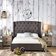 Roma Tufted Wingback Headboard Oyster Fullqueen by Bedroom Fabric Shag Area Rug Window Wall Painting King Size White