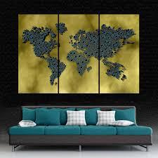 3 panel split gold blue color art 3d world map canvas print