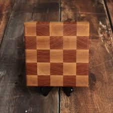 small wood end grain cutting board maple cherry checkered