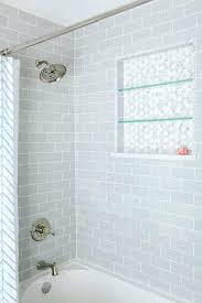 glass tiles bathroom ideas sky blue glass subway tile shower outlet bathroom design ideas with