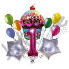 large birthday balloons sparkling cupcake magenta number happy birthday balloon bouquet