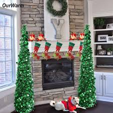 compare prices on artificial decorative trees online shopping buy ourwarm pop up christmas tree artificial tinsel christmas trees 2018 new year christmas decorations for home