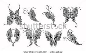 set butterfly design stock vector 386157652