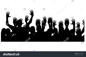party silhouette silhouette party people hands air stock vector 13735408 shutterstock