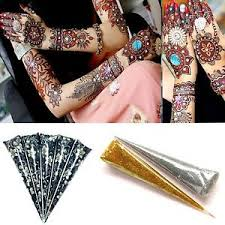 5 x 33 g dark brown henna body art tattoo kit cone free 1
