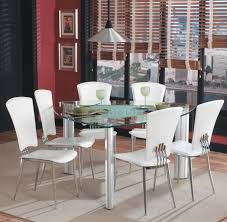 Contemporary Dining Table Set by Triangle Glass Top Modern Dining Set 7pc W White Chairs