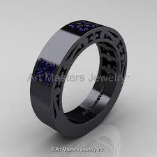 black gold mens wedding band mens modern vintage 14k black gold blue sapphire wedding band