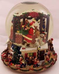kirkland musical snow globe santa s shop revolving