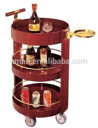 wood rolling wheeled bar cart wine rack portable drink server