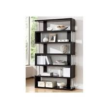 bookcase wall unit 6 shelves brown wood storage home office