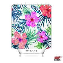 Hawaiian Curtain Fabric Miaoji Tropical Hawaii Flowers Leaves Vivid Color Fabric Print
