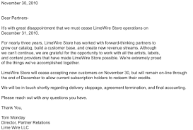Closing Business Letter To Customers by Limewire Closes Music Store Abandons New Online Music Service