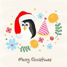 merry christmas celebration greeting card design with little cute