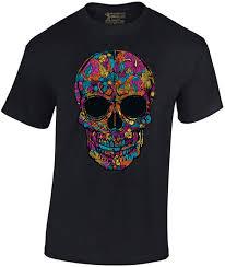 amazon com shop4ever skull black u0026 white t shirt day of the dead