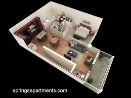 Studio Apartment 3d Floor Plans Open Plan Apartment Exposed Beams Iron Columns Exterior E2 Trendir