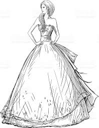fashion hand drawn illustration vector sketch long dress bride