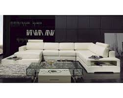 Modern Leather Sectional Sofa White Finish Leather Sectional Sofa W Light 44lt63
