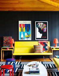 royal blue paint color for boho chic living room with a yellow