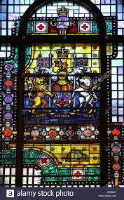 canadian coat of arms on stained glass window at osgoode hall