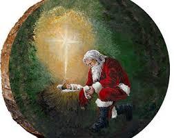 santa kneeling at the manger santa claus kneeling at baby jesus manger embroidery applique