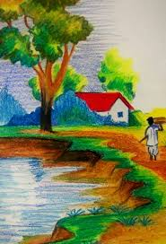 simple landscape drawing for kids pencil drawing of natural
