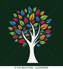 happy color tree with white trunk vector search clip