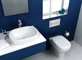 blue bathroom sinks floating white washbasin under the rectangular