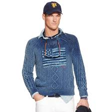 Flag Sweater Polo Ralph Lauren Tonal Flag Crewneck Sweater In Blue For Men Lyst