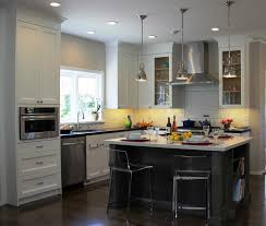 kitchen cozy laminate wood flooring with bar stools and pendant