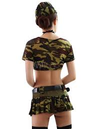 army pattern crop top sexy army costume halloween camo printed women crop top and mini