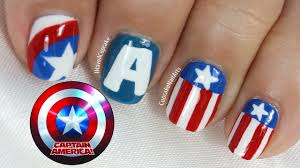 captain america nail art youtube