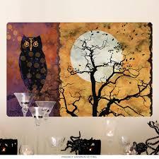 black owl full moon all hallows eve wall decal halloween