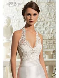 Halter Neck Wedding Dresses Mori Lee 5311 Lace Halterneck Fishtail Gown Designer Back Detail