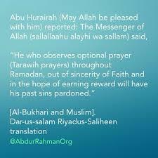 he who observes optional prayer tarawih prayers throughout ramadan