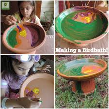 make your own birdbath easy project for children