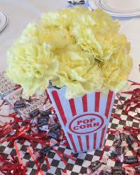 50s party popcorn centerpiece 50s party sock hop pinterest