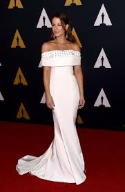 Red Carpet Gowns Sale by Kate Beckinsale Off The Shoulder Beaded Ivory Satin Red Carpet