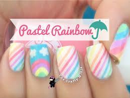 pastel rainbow nail art by the crafty ninja youtube