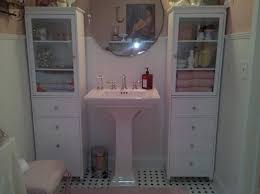 modern bathroom sink cabinet with shabby chic style marble tiles