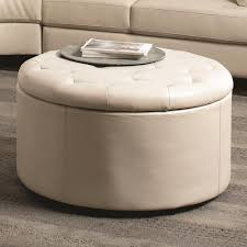 coaster round ottoman cream simple design ottomans coffee tables