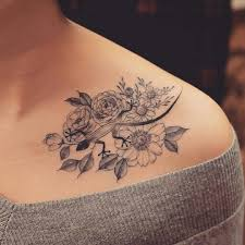 sports floral shoulder tattoo design floral tattoo design