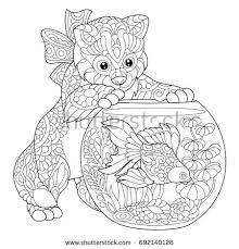 Coloring Page Kitten Wondering About Goldfish Stock Vector Coloring Page Of