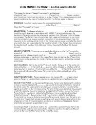 free ohio month to month lease agreement template pdf word