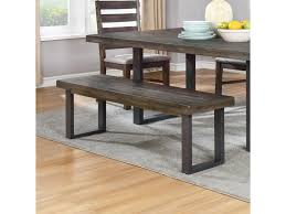 murphy table and benches coaster murphy rustic dining bench with metal u base value city